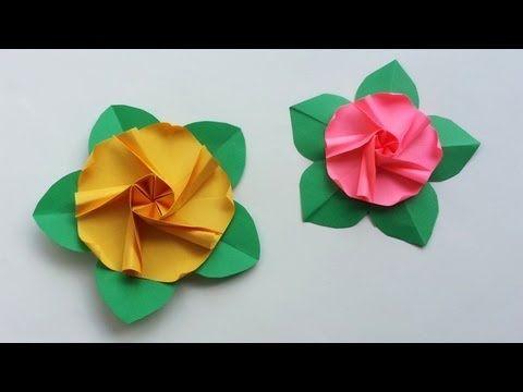 Origami quickie rose and leaf rosa y hoja fcil youtube origami flower hollyhock flor malva rosa by yara yagi mightylinksfo