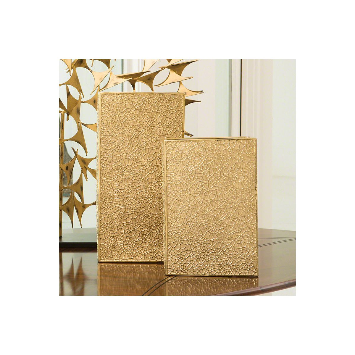 Global Views Organic Lace Vase - Gold