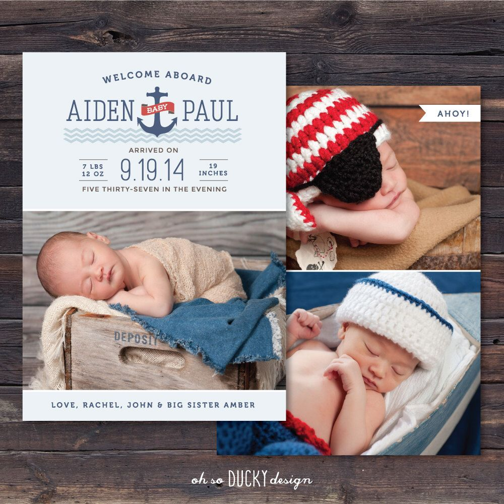 welcome aboard matey 5 x 7 custom photo birth announcement nautical by ohsoduckydesign on