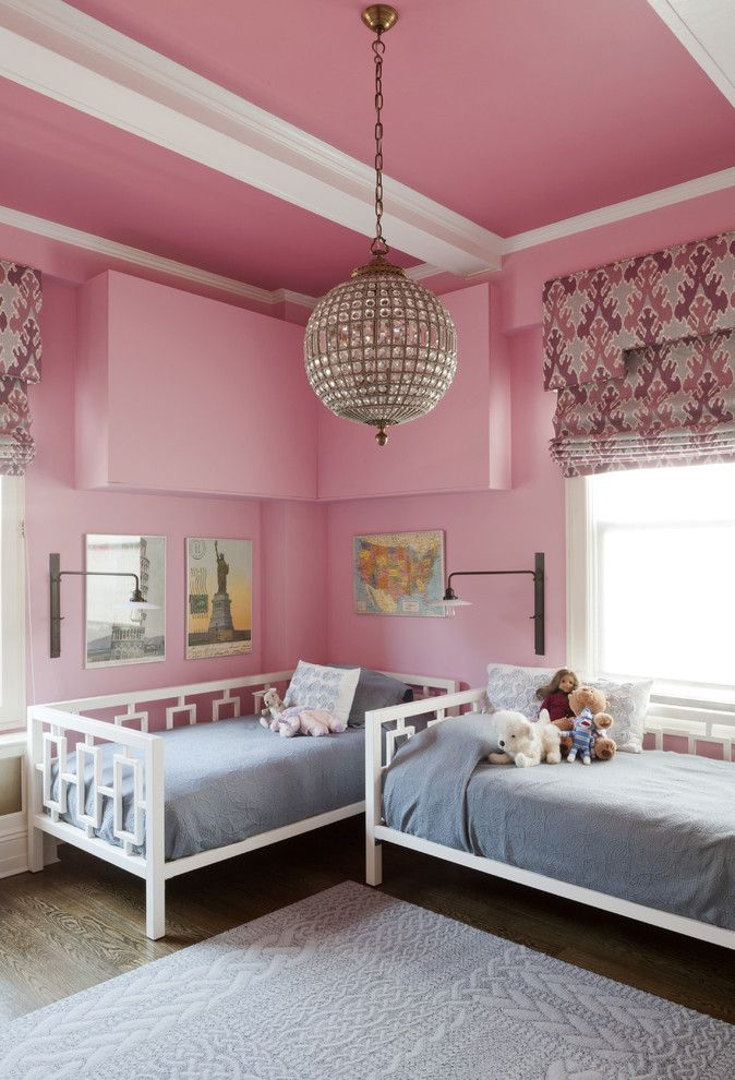 Room Pink Girls Bedroom Chandelier Eclectic Kids