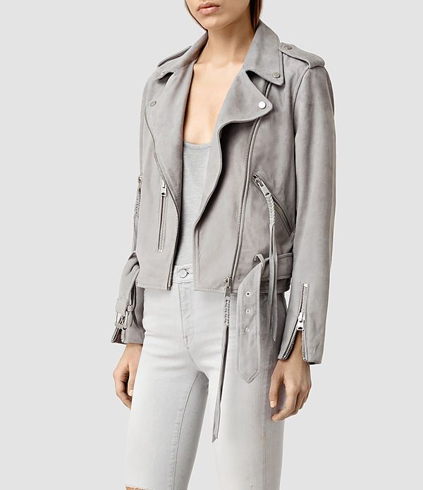 Womens Plait Balfern Biker Jacket (Light Grey ...