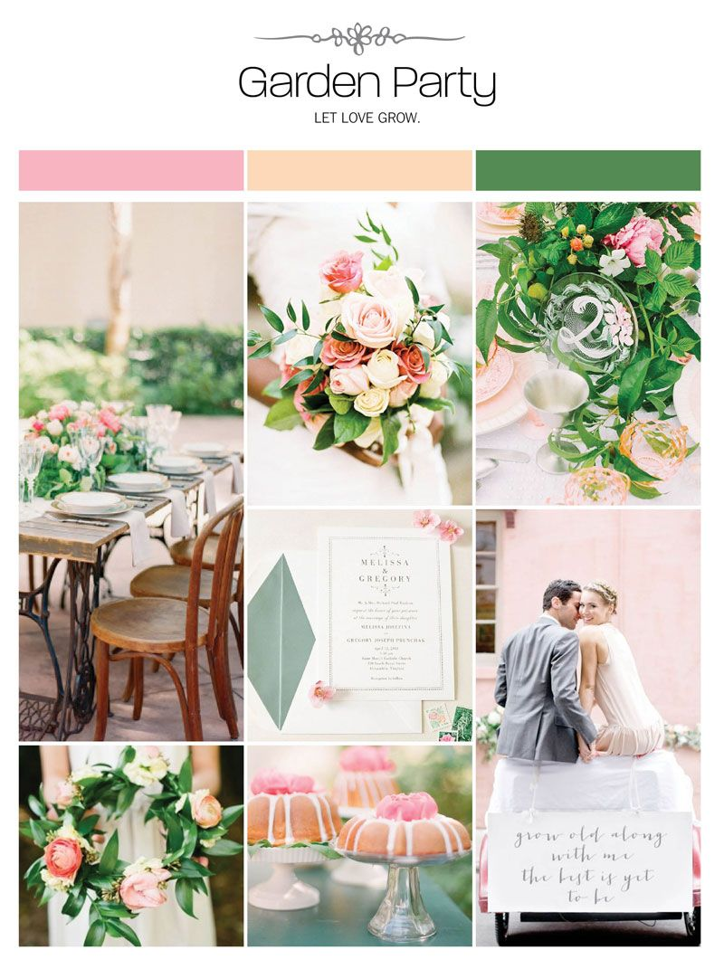 Garden party wedding inspiration board, color palette, mood board via Weddings Illustrated