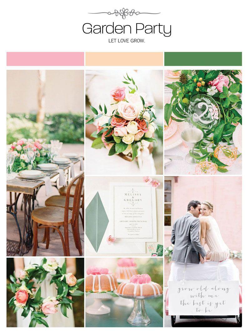 0b10871f7d04 Garden party wedding inspiration board, color palette, mood board via  Weddings Illustrated