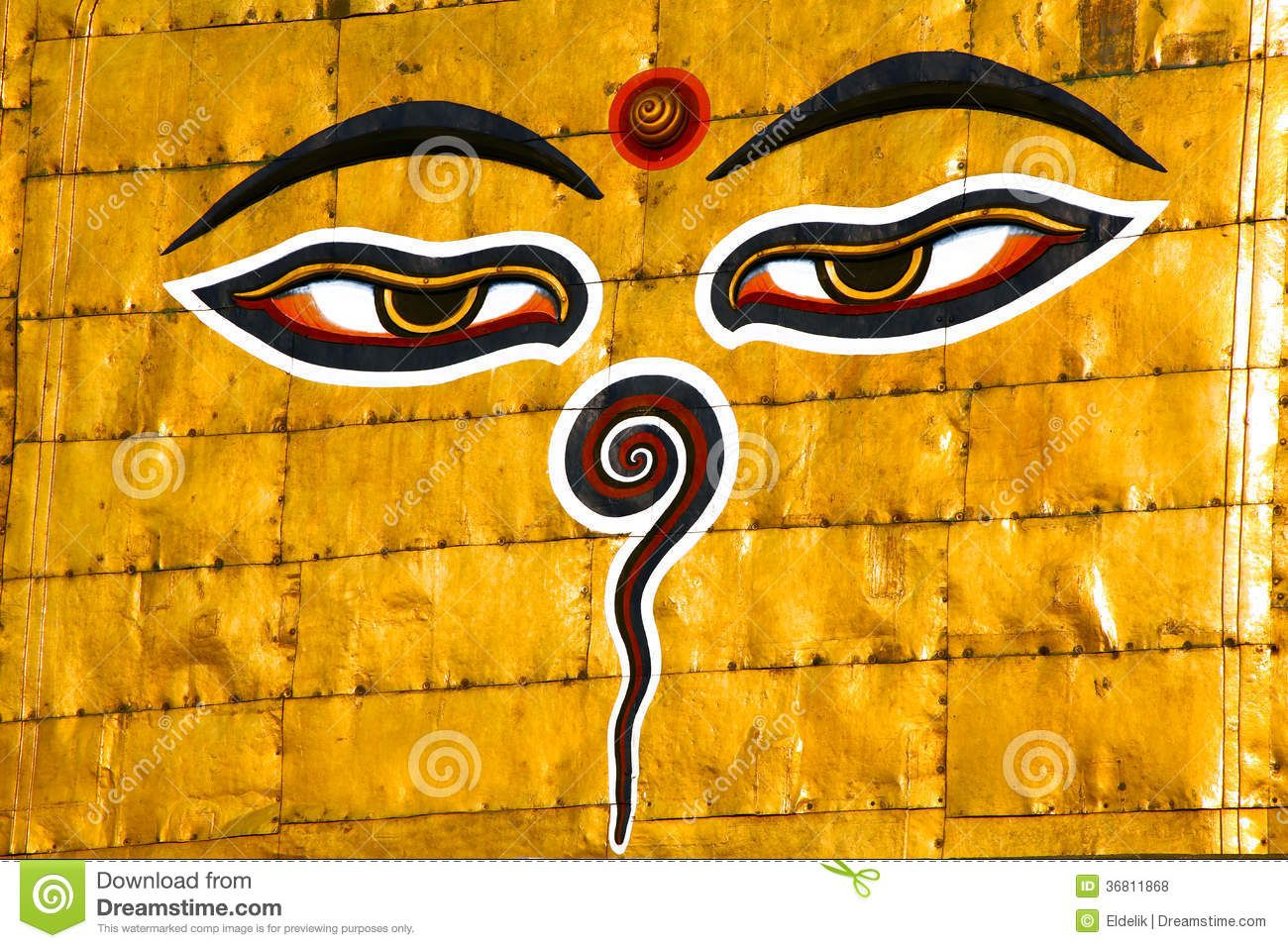 Symbol Of Nepal Buddhas Eyes In Kathmandu Royalty Free Stock