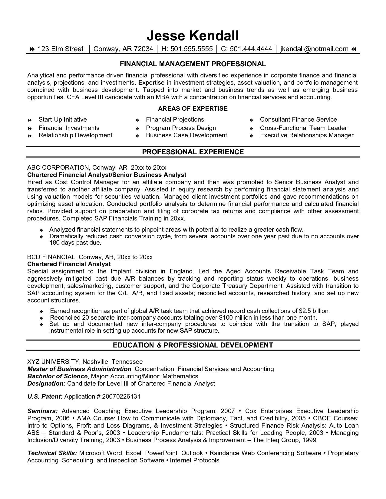 Resume Financial Analyst Best Format Amazing Finance Examples Livecareer  Cfa Candidate Resume