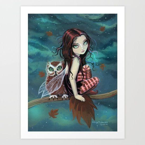 Autumn Owl Fairy Fantasy Art by Molly Harrison Art Print