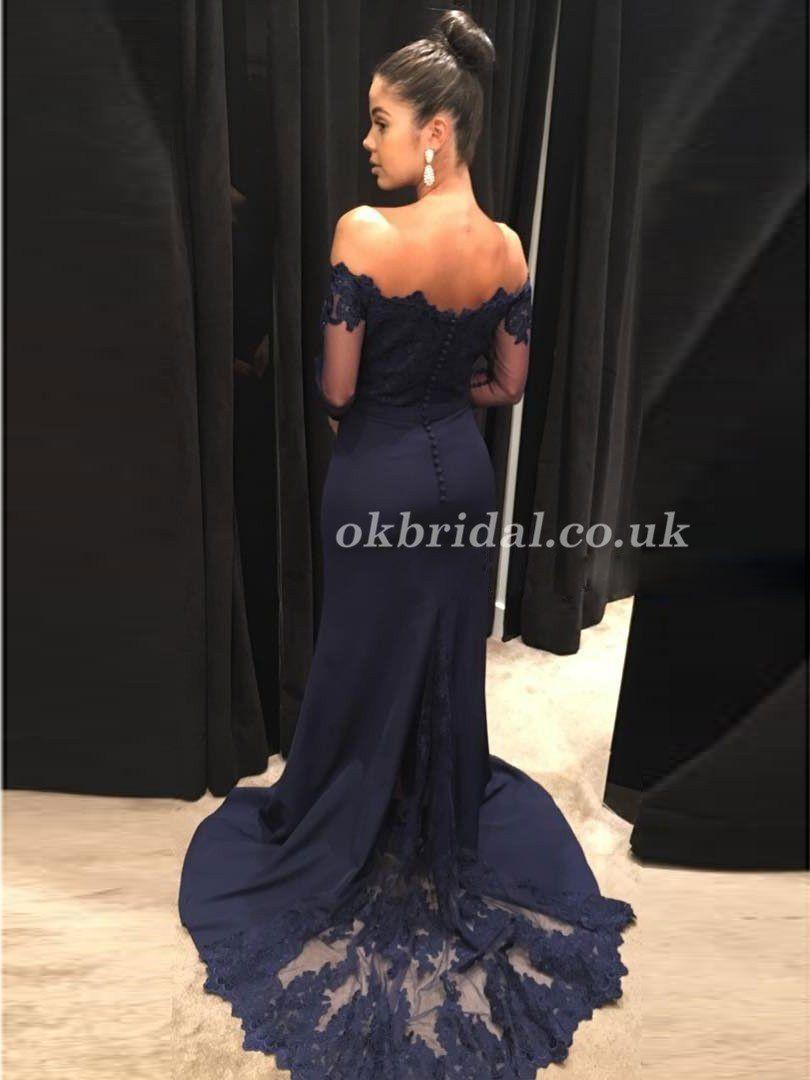Off shoulder long sleeve prom dress satin tulle prom dress