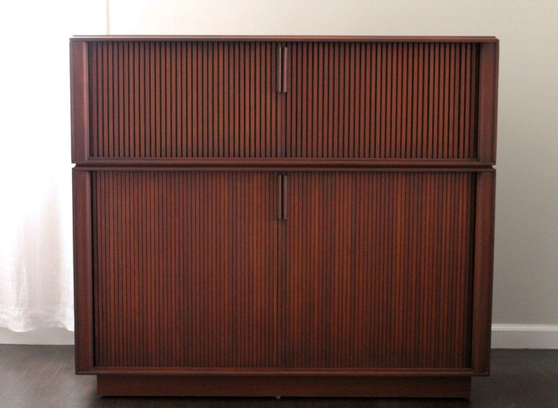 Mid Century Danish Modern Barzilay Walnut Stereo Cabinet
