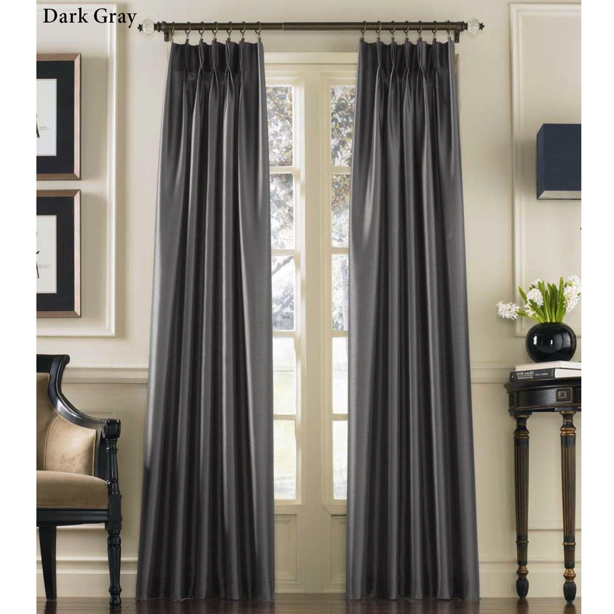 Marquee Flared Faux Silk Pinch Pleat Curtain Panel Pinch Pleat Curtains Panel Curtains Traditional Curtains