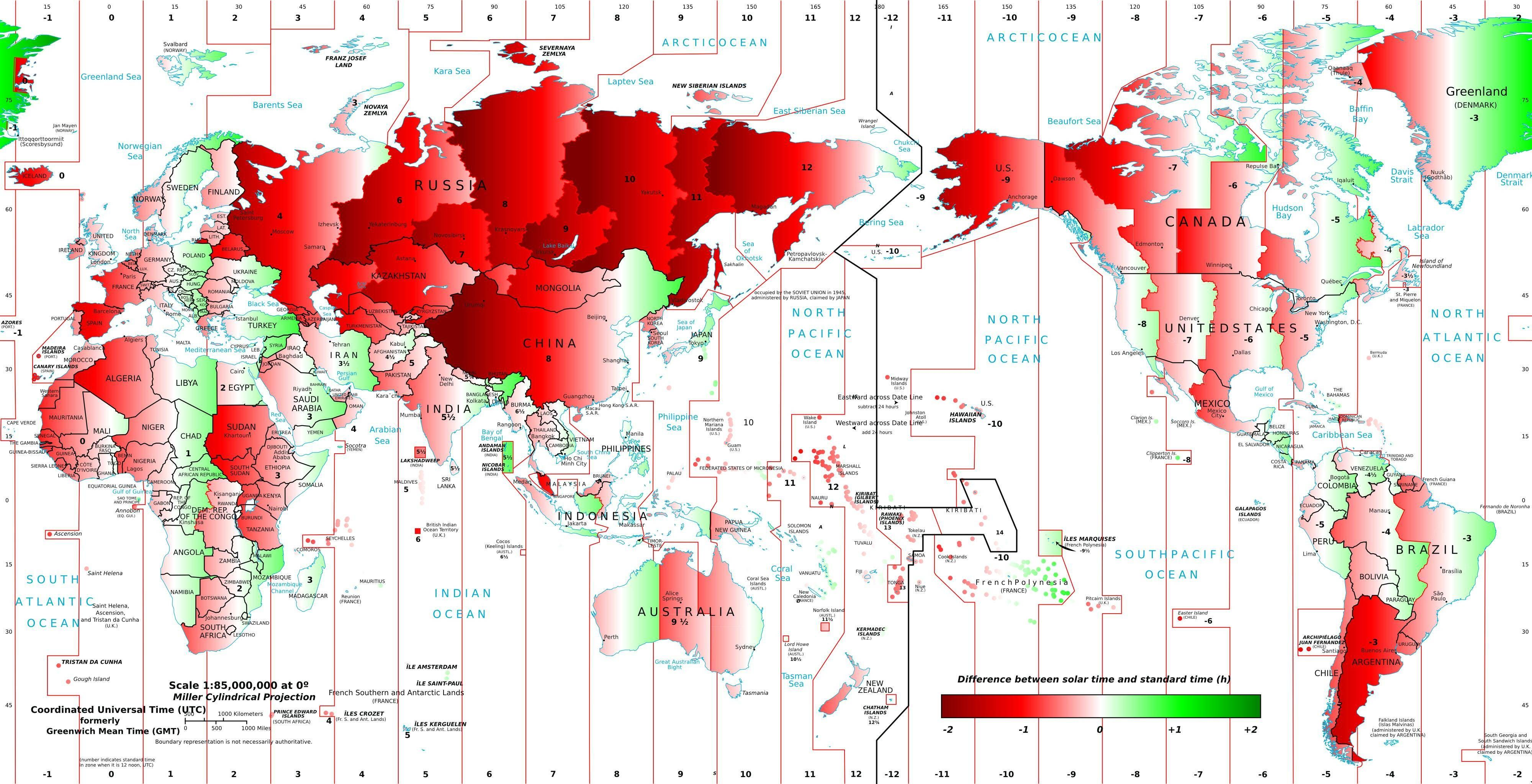 World map of difference between solar time and clock time ...