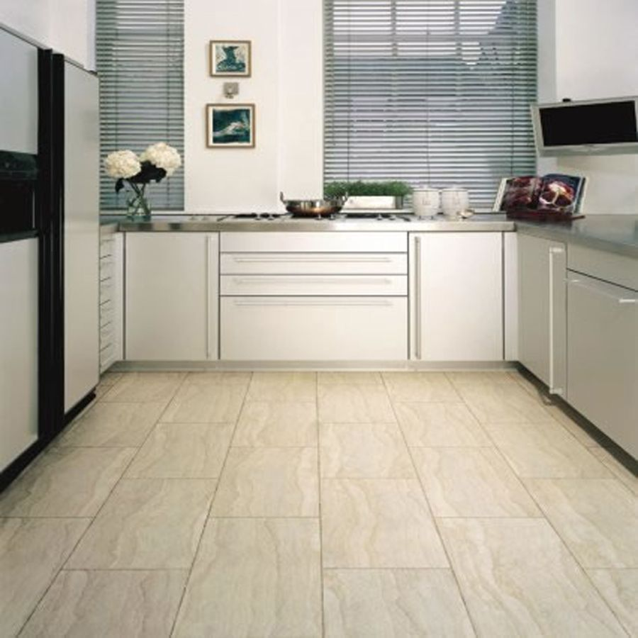 Kitchen Floor Tiles For White Cabinets: Interior, : Cozy U Shape Kitchen Decoration Using White