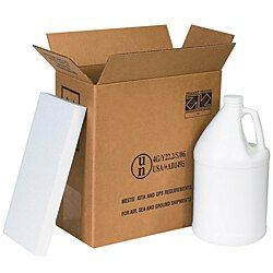 Office Depot Brand Plastic Jug Shipper Kit, Two 1-Gallon Jugs, 12L x 6W x 12 3/4H, Kraft/White #plasticjugs