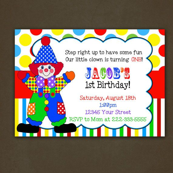 clown circus birthday party invitation by pinkskyprintables 12 00