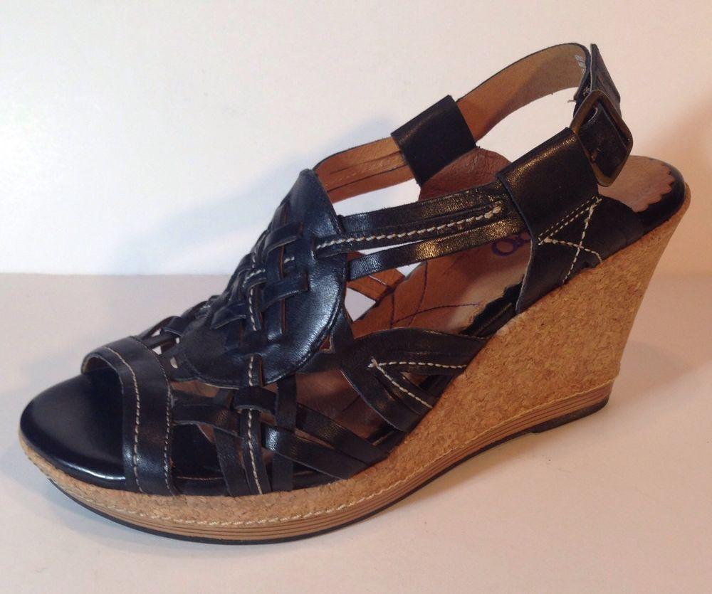 Indigo By Clarks Womens Sandals Buckle Leather Cork Wedges Black 8.5 | eBay