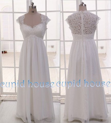 Plus Size Cap Sleeves Sweetheart Neck Cheap White by CupidHouse, $138.00