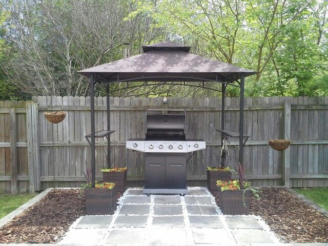 Grill Gazebo Anchored By Container Gardens