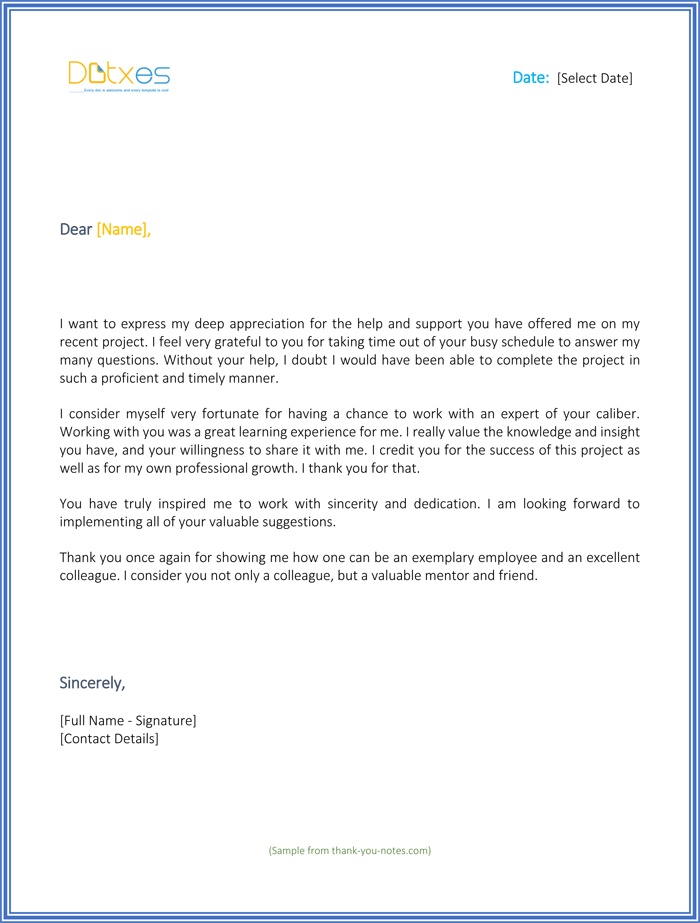 Thank You For Your Support Letter Best Sample Letters Should Boss