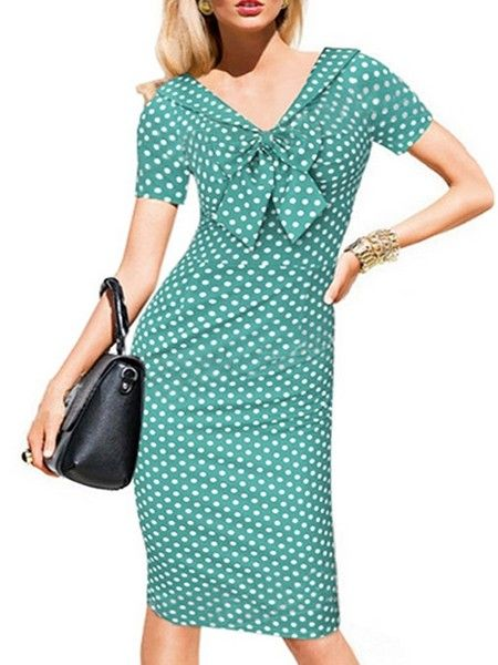 Appealing  Bowknot Polka Dot Bodycon-dress