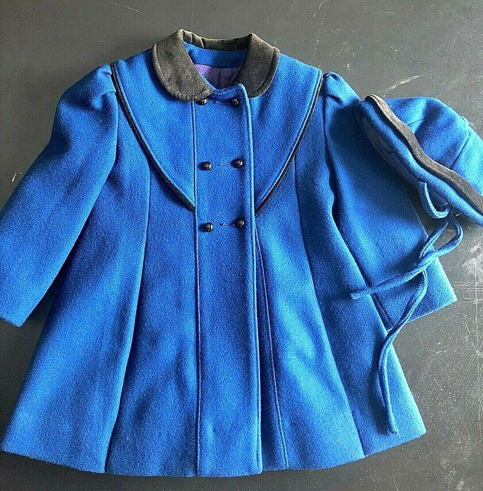 ddc9f333fcbf Vintage Rothschild Wool Coat with Hat Royal Blue Purple Lining Girls Size 4   Rothschild