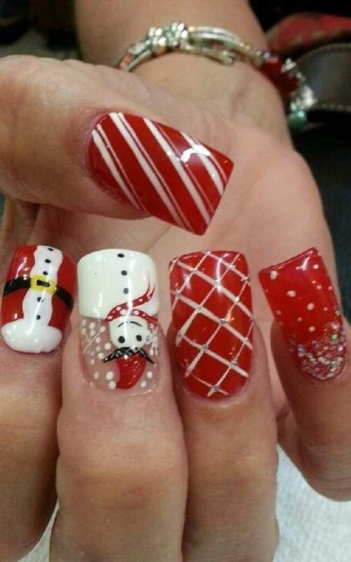 88 awesome christmas nail art design ideas 2017 ongles de no l ongles noel et ongles. Black Bedroom Furniture Sets. Home Design Ideas