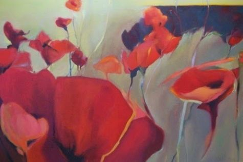 Contemporary Botanical Floral Poppy Painting Passion by Intuitive Artist Joan Fullerton, painting by artist Joan Fullerton