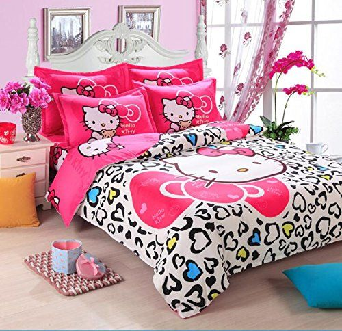 Hello Kitty 3 Piece Bed In A Bag Heart White Bedding Set…