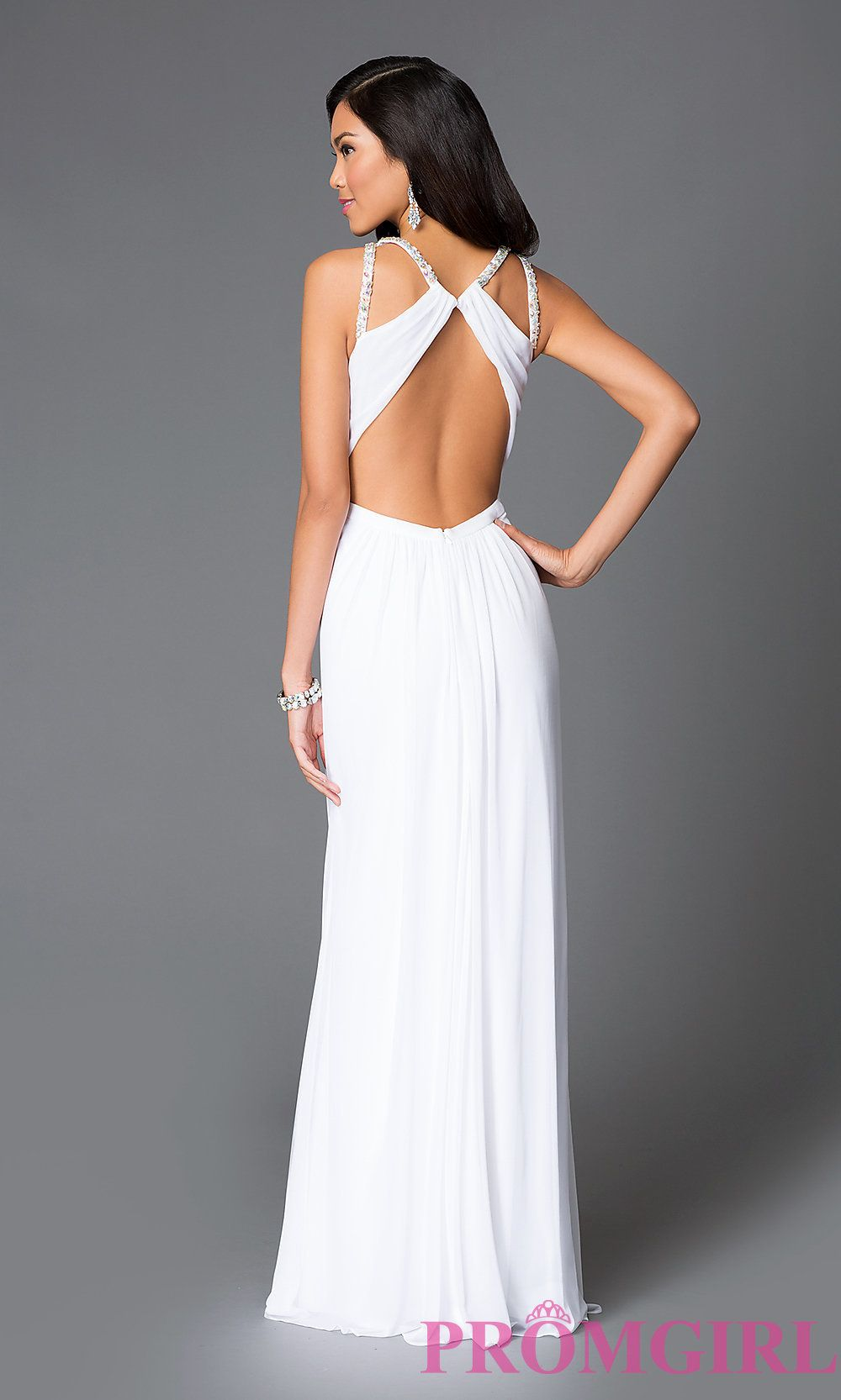 9919b481c0 Image of long high neck sheer keyhole cut out open back beaded details  white dress Front Image