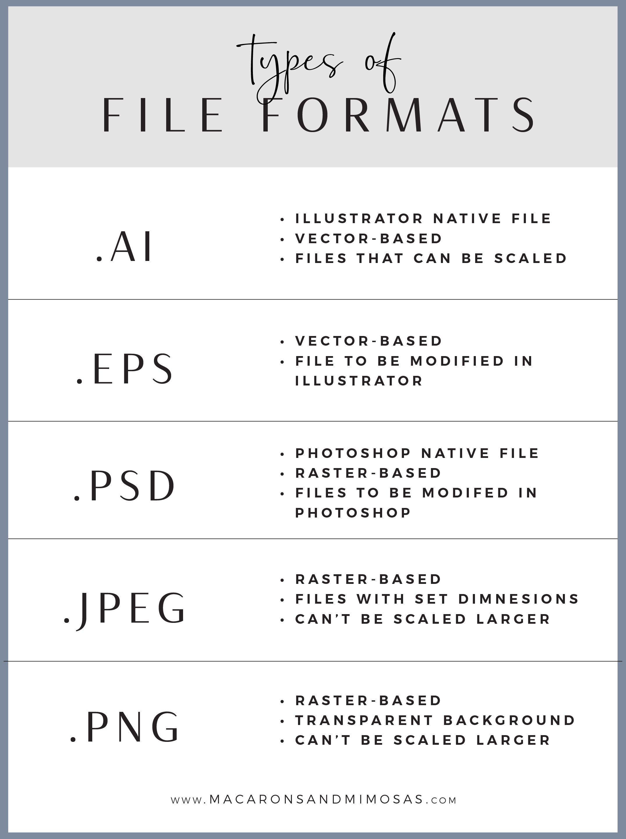 Different File Formats & File Extenstions Raster image