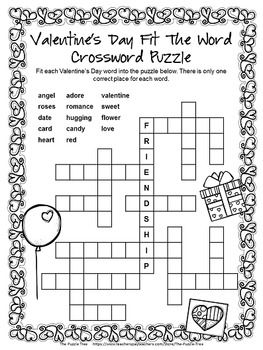 Influential image within valentine's day crossword puzzle printable