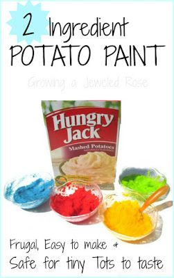 play recipe: potato paint + warm water + food coloring. Please use ...