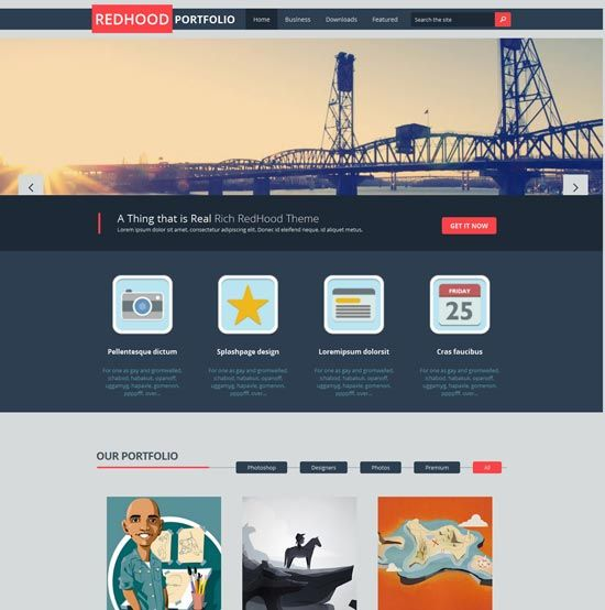 Red Hood Free Portfolio Blogger Template | Web Design - Naomi\'s Blog ...