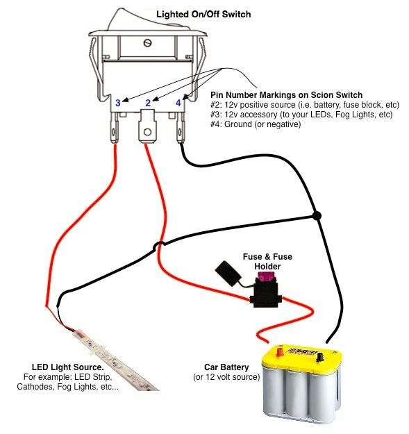 On Off Switch Led Rocker Switch Wiring Diagrams Bil Husbil Och Verkstad