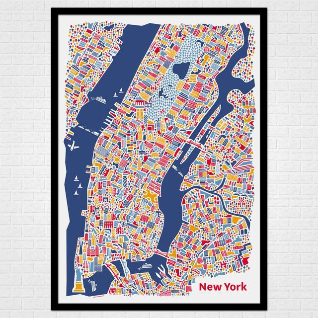 new york city map poster by vianina maps and cartography pinterest city map poster city. Black Bedroom Furniture Sets. Home Design Ideas