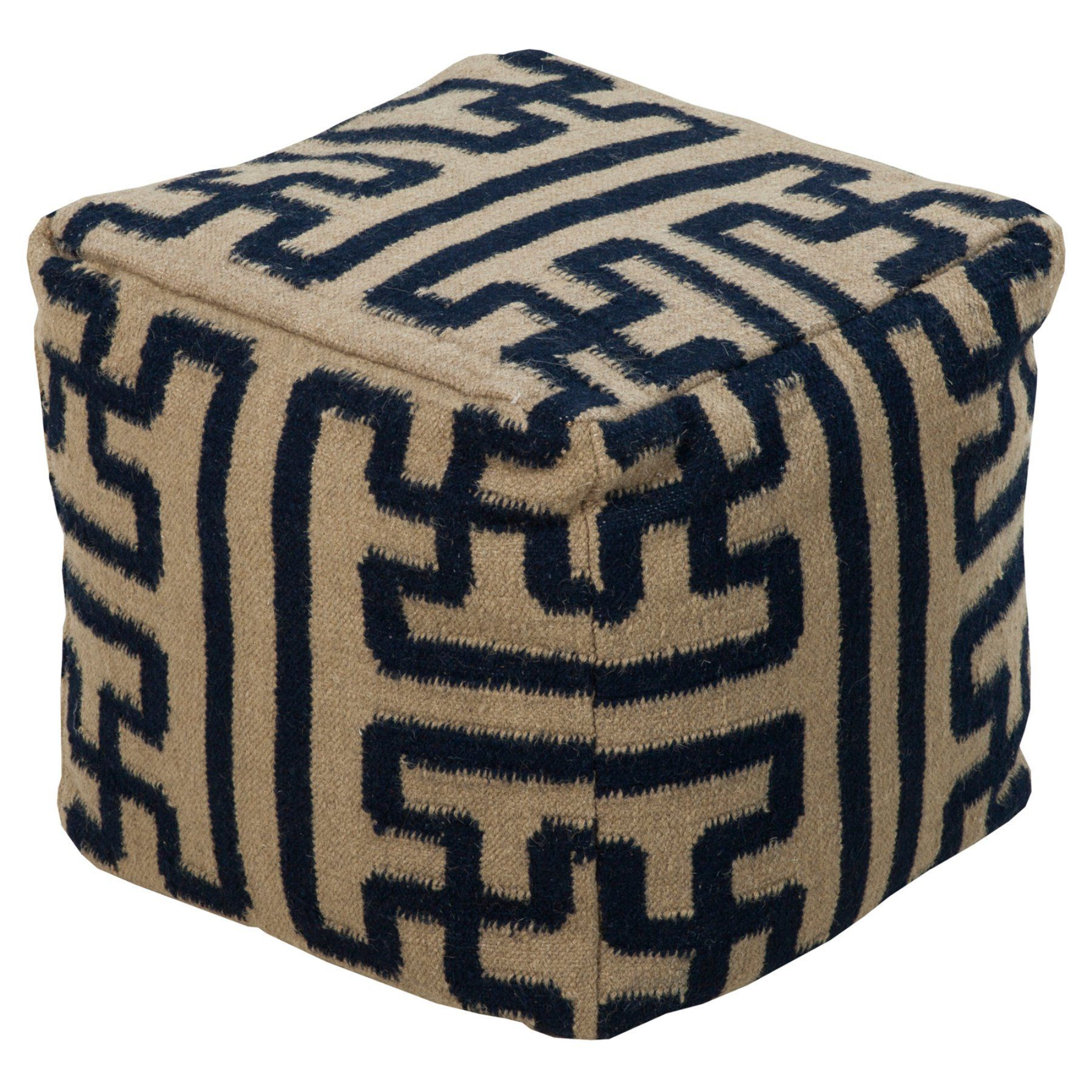 Surya 18 in. Puzzle Cube Wool Pouf - POUF-49