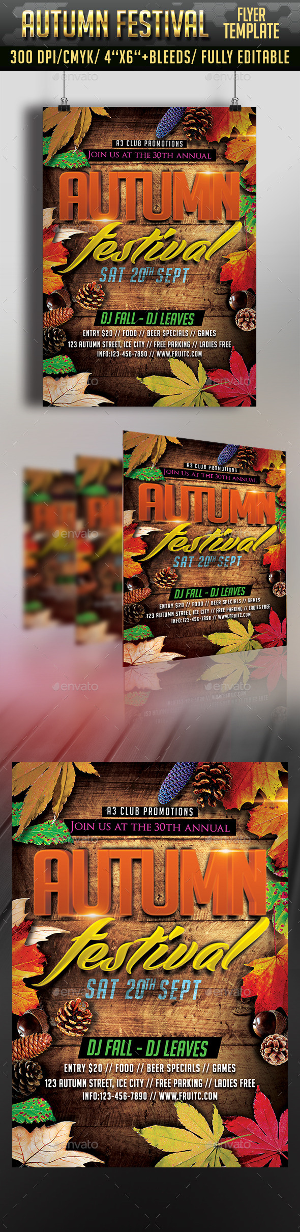 Autumn Festival Flyer Template #design Download: http://graphicriver.net/item/autumn-festival-flyer-/12607095?ref=ksioks