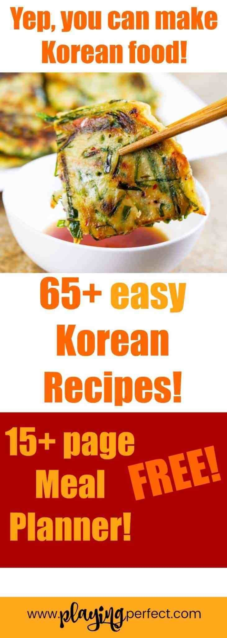 Easy Korean recipe ideas! Here are Korean dinner ideas, Korean instant pot recipes, vegan Korean food, and quick Korean recipes too! FREE Meal Planning printable pack included! | playingperfect.com | #koreanfood #korean #kore #Abnehmen #chinese food #essen ideen #food ideas #italian food #korean food #mexican food