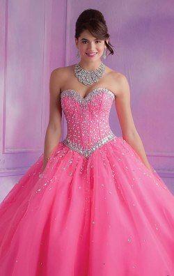 bc8bb0e0d vestidos de 15 anos rosa com pedras