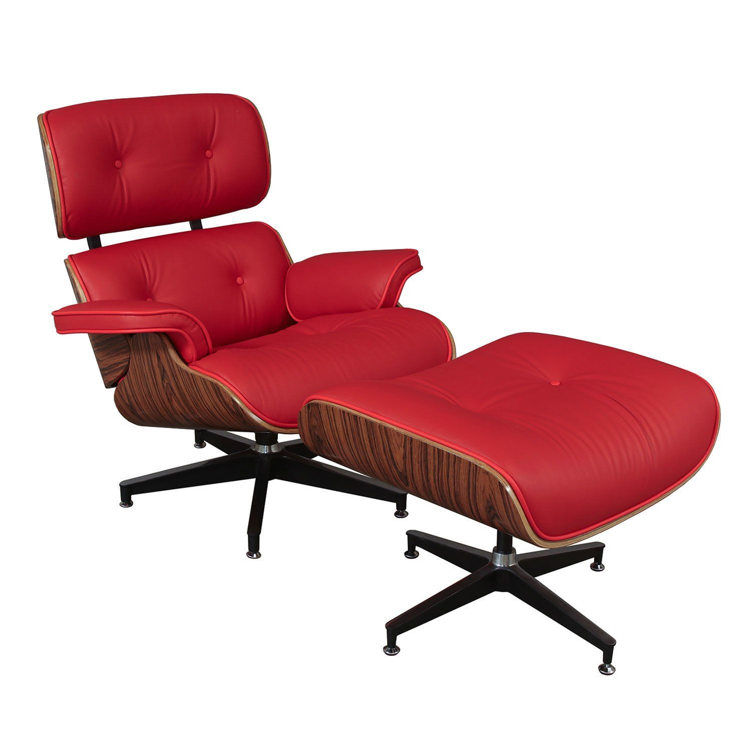 Eames Style Leather Lounge Chair & Ottoman Reproduction by