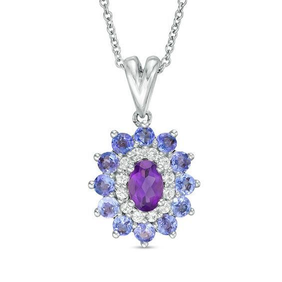 Zales Oval Amethyst and Lab-Created White Sapphire Starburst Frame Pendant in Sterling Silver T3skFv