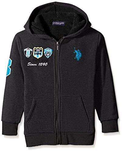 U.S. Polo Assn. Big Boys' Sherpa Lined Fleece Jacket with Hood ** You can get additional details at