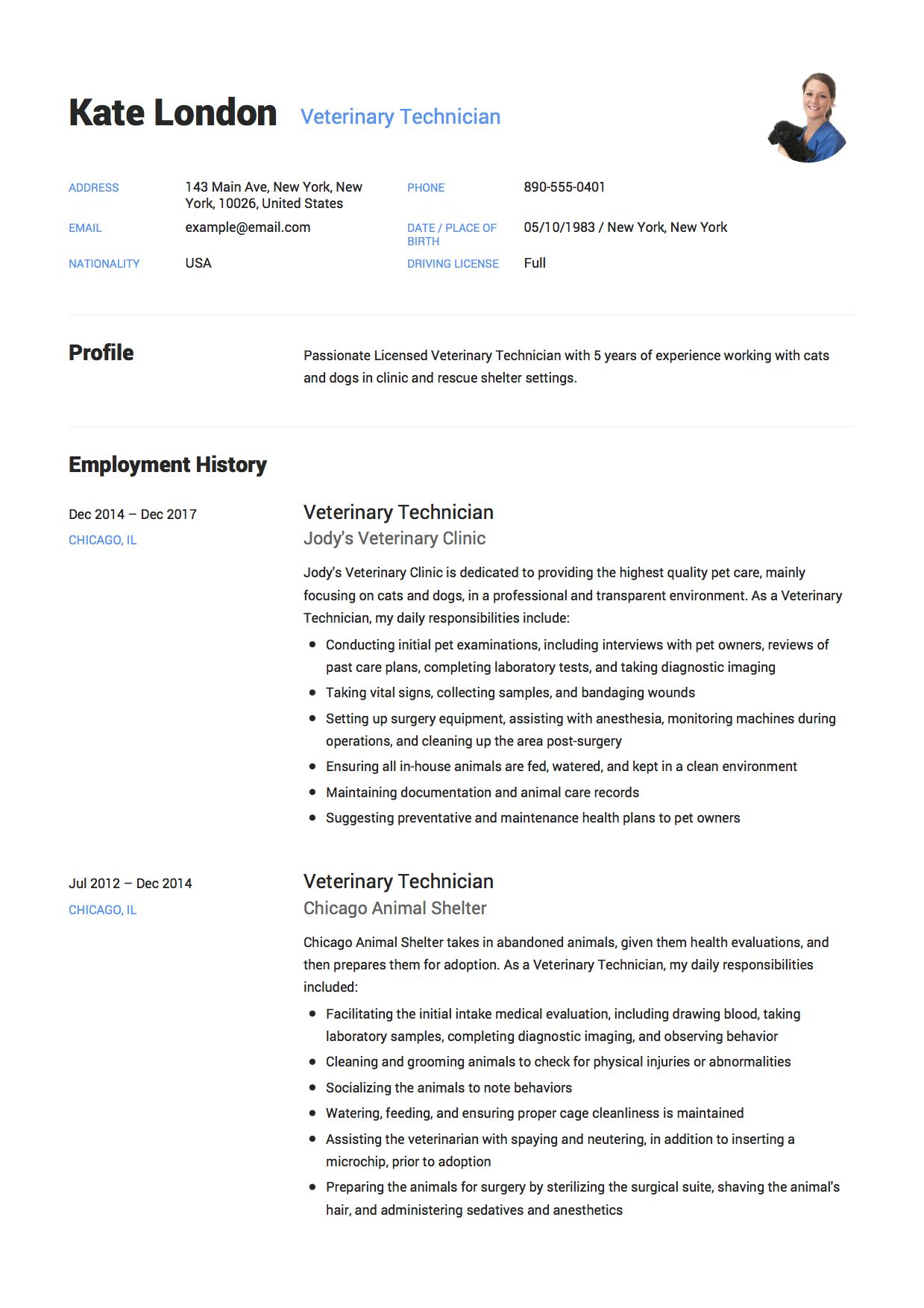 Veterinary Technician Resume Job Resume Examples Veterinary Technician Resume Examples