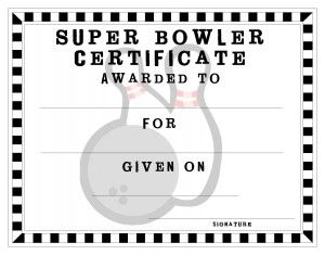 free printable bowling certificate bowling party