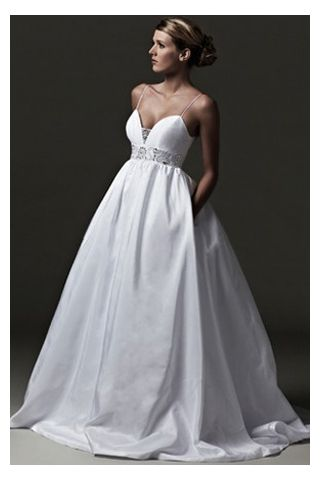 Satin Wedding Dress In Ball Gown Style With Spaghetti Straps And Beaded Sash Quality Unique