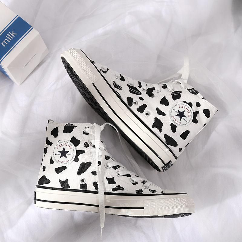 Fashion Milk Cow Canvas Women Shoes New Breathable High-top Outdoor Ladies Casual Sneakers Lace-up Leisure Footwear