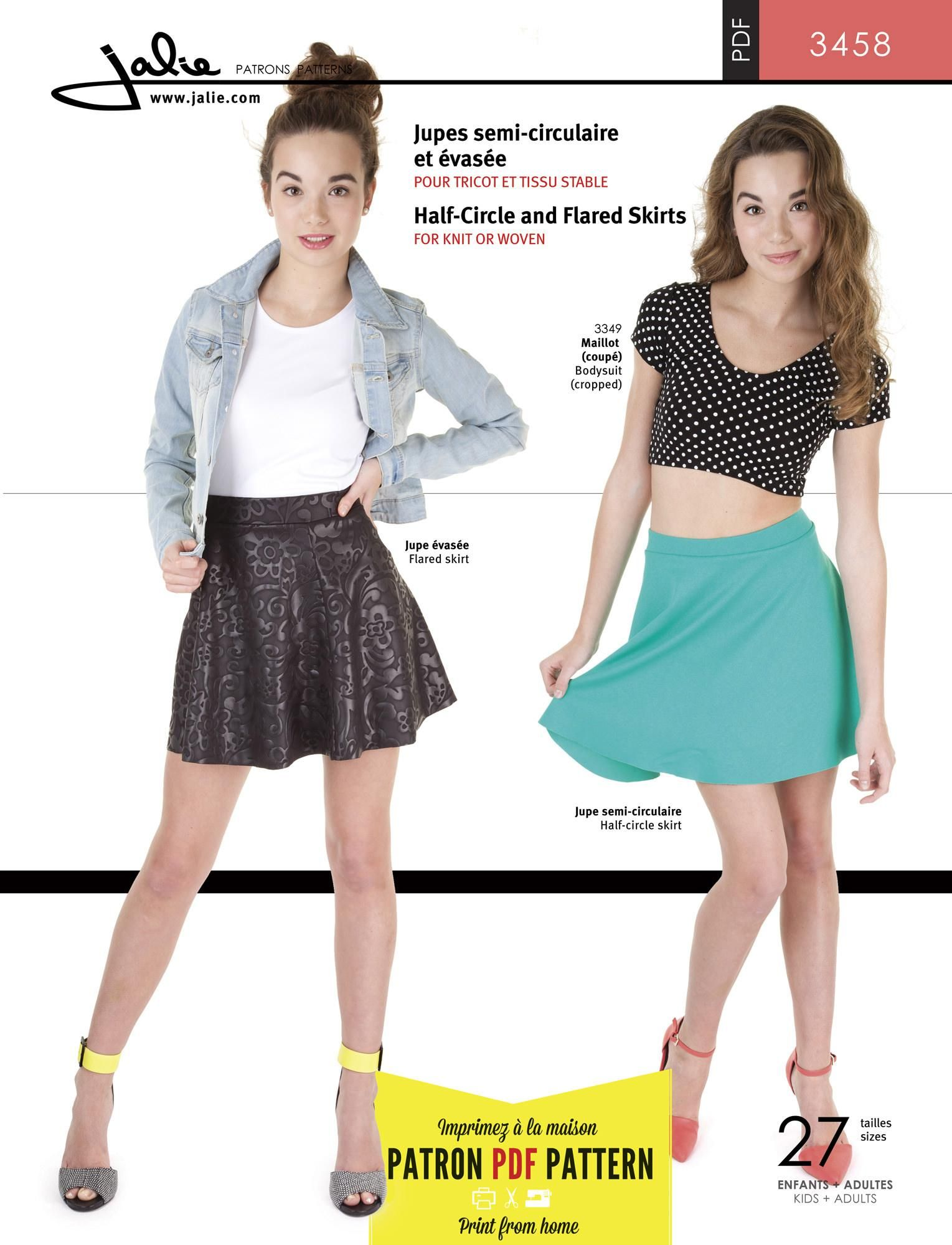 Jalie 3458 - Half-Circle and Flared Skirts PDF Pattern by Jalie ...