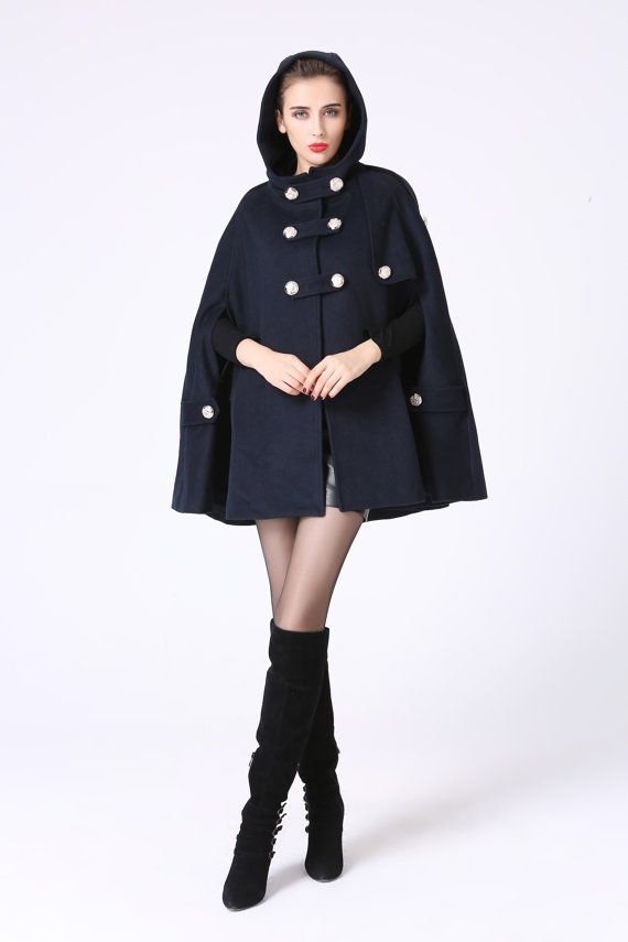 Cape coat, hooded cape, wool cape, double breasted coat, navy coat ...