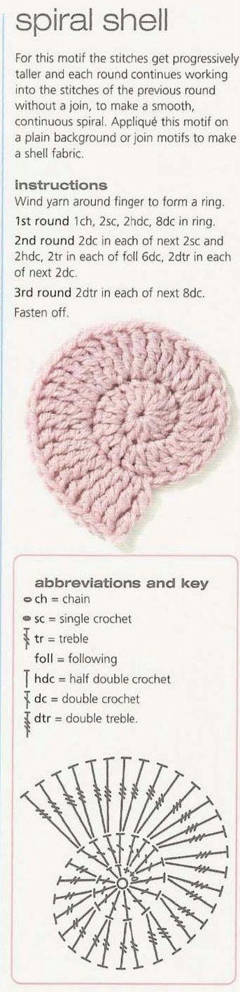 crochet spiral shell http://mizrah.ru/post149334857/ | аппликации ...