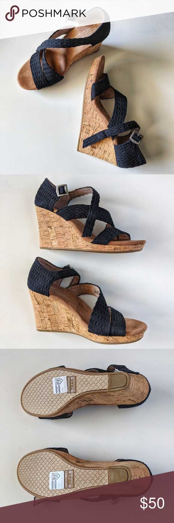 Never Worn! Black/Cork Tom's Wedge Sandals NWOB. These shoes have never touched pavement.   Tom's wedge sandals in black with 3.5in cork heel. Toms Shoes Wedges #tomwedges Never Worn! Black/Cork Tom's Wedge Sandals NWOB. These shoes have never touched pavement.   Tom's wedge sandals in black with 3.5in cork heel. Toms Shoes Wedges #tomwedges