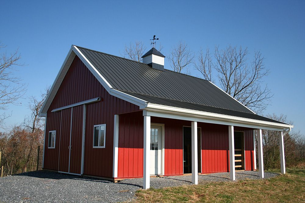 Morton building cabins building type pole barn w porch for Barn house plans with porches