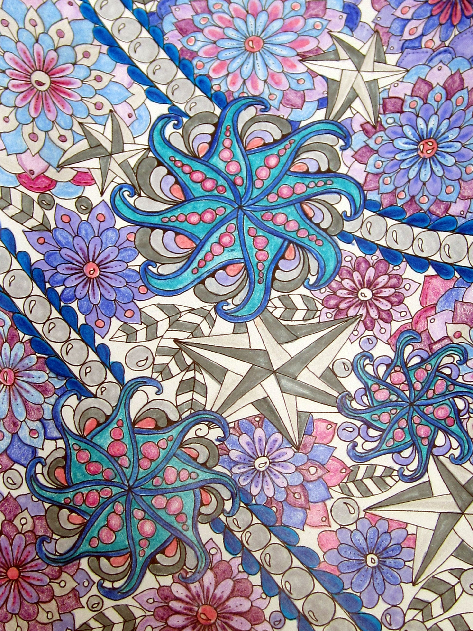 Zendoodle coloring enchanting gardens - Markers And Pencil From Zendoodle Coloring Book